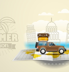 World map with the bus vacation concept summer vector