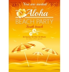 Aloha beach party background with umbrellas vector image vector image