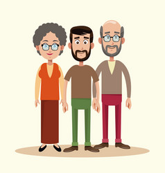 father with grandparents family vector image
