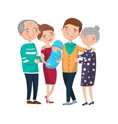 happy big family portrait cartoon vector image