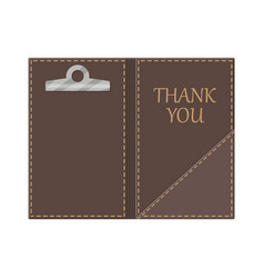 leather folder for cash coins and cashier check vector image vector image