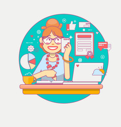 linear flat young office manager or businesswoman vector image