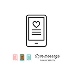 love sms or romantic message icons mobile chat vector image