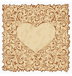 Vintage postcard with heart vector