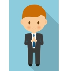Boy kid cartoon black suit icon graphic vector