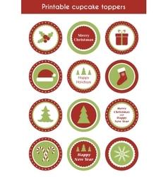 Christmas printable cupcake toppers vector image vector image