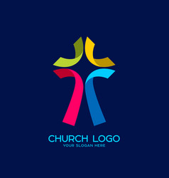 cross of jesus of colored strips vector image