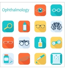 flat optometry icon set with long shadow vector image vector image