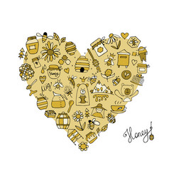 honey apiary icons heart shape sketch for your vector image vector image