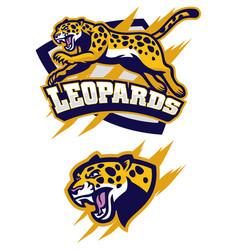 Jumping leopard mascot vector