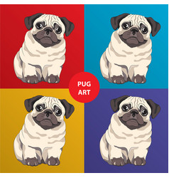 lovely pug puppy cartoon character vector image