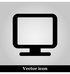 Monitor icon isolated on back vector image