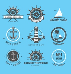 Set of vintage nautical labels icons and design e vector image vector image