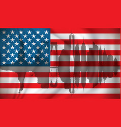flag of usa with new york skyline vector image vector image