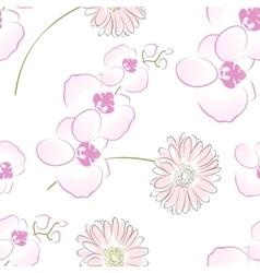 Seamless creative hand-drawn orchid pattern vector image vector image