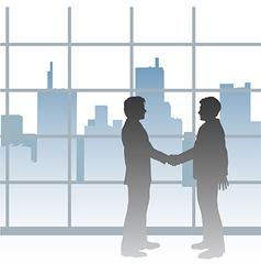 Big City business men deal handshake vector image