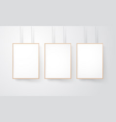 blank wood frames group on the wall mockup vector image