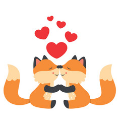 cute little foxes kissing valentines day card vector image vector image