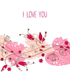 Elegant Valentine love floral postcard vector image