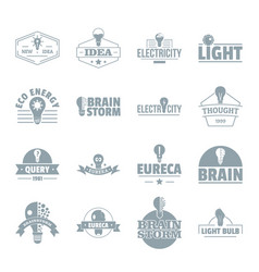 lamp logo icons set simple style vector image vector image