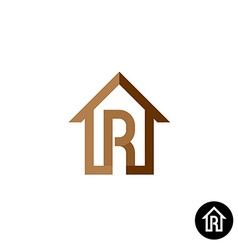 Letter R with house logo vector image vector image