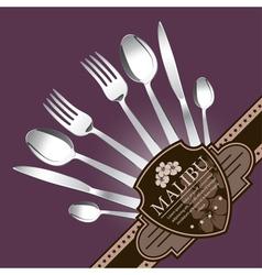 Restaurant menu design on lilac background vector image