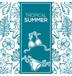 tropical summer background leaves flowers and vector image