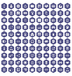 100 web development icons hexagon purple vector