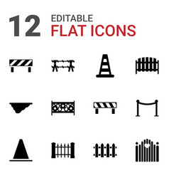 12 barrier icons vector