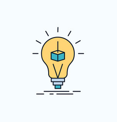 3d cube idea bulb printing box flat icon green vector