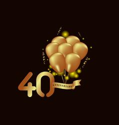 40 year anniversary gold balloon template design vector
