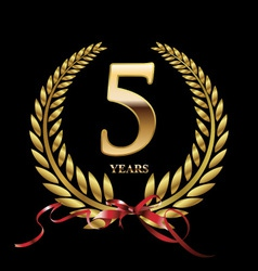5 years anniversary laurel wreath vector image