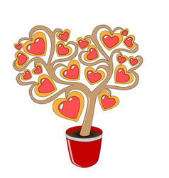 a love tree in a red pot with hearts on branches vector image