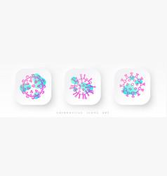 A set coronavirus icons cell covid-19 vector