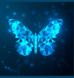 abstract blue futuristic butterfly low polygon vector image