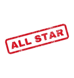 All Star Text Rubber Stamp vector