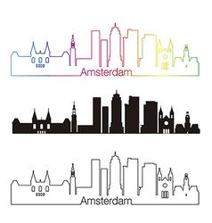 Amsterdam V2 skyline linear style with rainbow vector