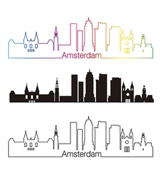 Amsterdam V2 skyline linear style with rainbow vector image