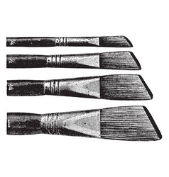 Artists bristle brushes are usually flat vector