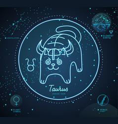 Astrology neon taurus zodiac sign funny cat vector