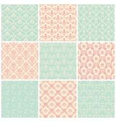 Backgrounds set Seamless wallpaper vintage vector image