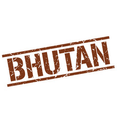 Bhutan brown square stamp vector