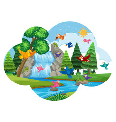 birds flying in nature scene vector image