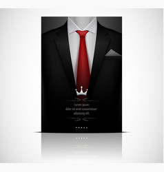 Black suit and tuxedo with red tie vector