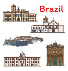 brazilian travel landmark icon south america vector image
