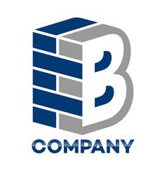 Brick wall and letter b logo vector
