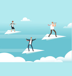 business team on paper airplanes opportunities vector image