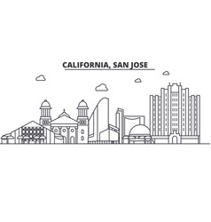 california san jose architecture line skyline vector image