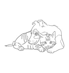 cat and dog line art 14 vector image