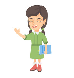 caucasian laughing girl holding a book vector image